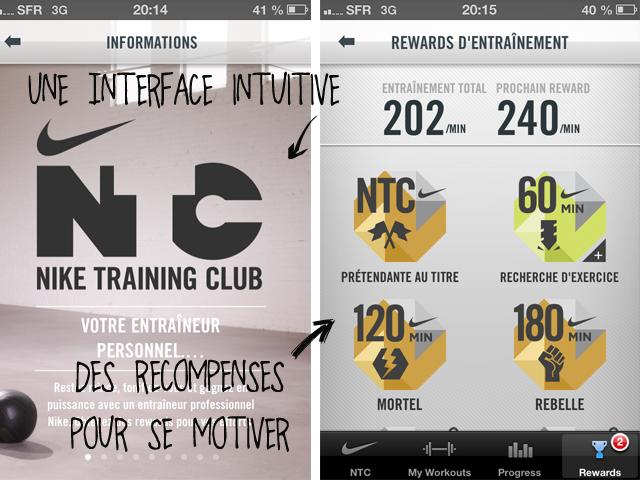 Test appli Nike NTC
