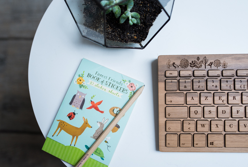 clavier ordinateur en bois orée